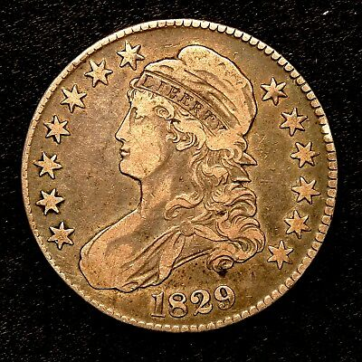 1829 ~**VF++/XF**~ Silver Capped Bust Half Dollar Antique US Old Coin! #Y54