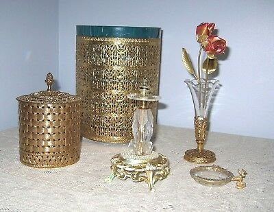 Lot of 5  Vintage Mixed Stylebuilt Gold Vanity Accessories