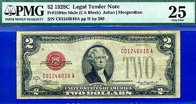 *Ultra Rare FR-1504m 1928-C $2 US Note (( Mule )) PMG Very-Fine 25 # C01246016A