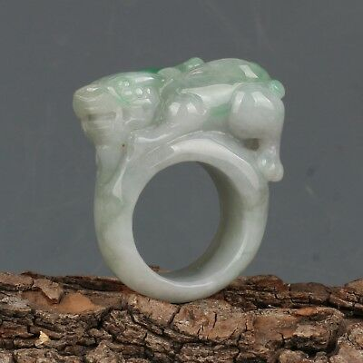 Chinese Exquisite Hand-carved beast carving Jadeite jade Ring
