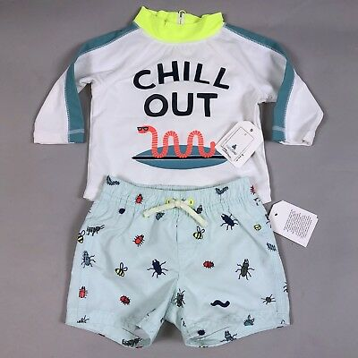 NWT Baby Gap Boy 0-6 Months Rashguard & Swim Trunks Chill Out Worm Insect Bugs