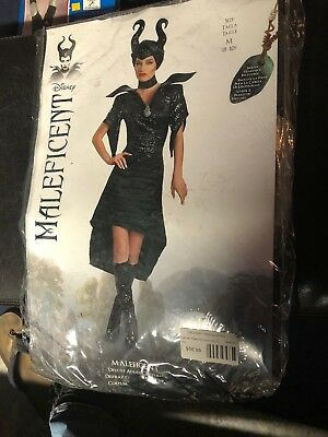 Maleficent Christening Black Gown Glam Adult Deluxe Medium (8-10) New Disney