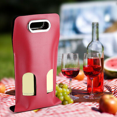 Portable Soft PU Leather Wine Carrier Cooler Insulated Carrying Tote Gift Bags