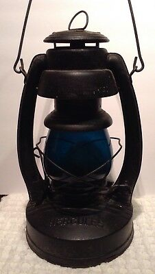Vintage Hercules Oil Lantern W/Rare Blue-Green Glass Globe Railroad?!