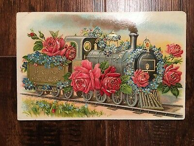 Antique Embossed Postcard Birthday Greetings Train with Flowers, No Text on Back
