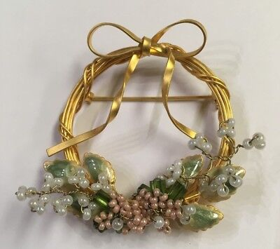 Vintage Gold Wire Wrapped Wreath Pin Brooch Enamel Leaves and Seed Bead Flowers
