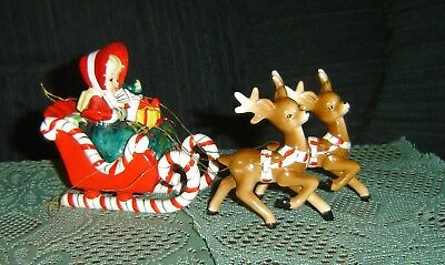 RARE, Lefton SHOPPING GIRL IN SLEIGH W/ ORIGINAL REINDEER, DATED 1956