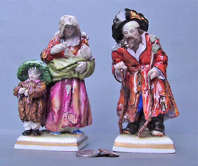 Pair of Volkstedt (Germany) Fine Porcelain Figurines, Peasant Couple & Children