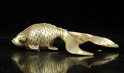 chinese old coppe plating silver hand-carved fish statue d01