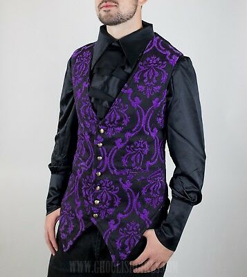 Dracula Clothing Purple Brocade Men's Long Vest-Gothic Steampunk-See Listing