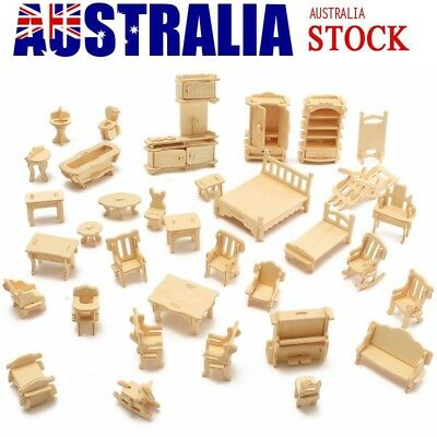 Birthday Gift Wooden Doll House Miniature Family Children Furniture Set Kit Toys