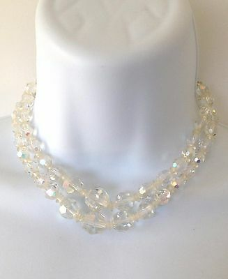 Vintage 1950'S Signed  JAPAN Silver Tone Clear Beads Double Strand Necklace