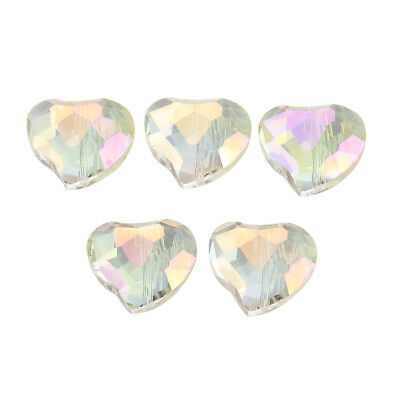 5Pcs 20x16mm Faceted Heart Charm Crystal Glass DIY Loose Beads New Findings Gift