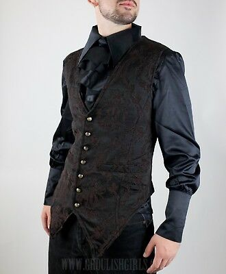 Dracula Clothing Brown Brocade Men's Long Vest-Gothic Steampunk-See Listing