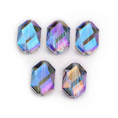 5pc 18x12mm Oval Hexagon Blue Colorized Glass Crystal DIY Loose Bead New Finding