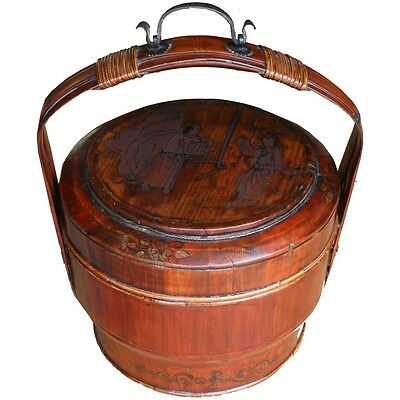 Chinese Antique Basket  Bamboo Handle - Beautiful Colour (35-081)