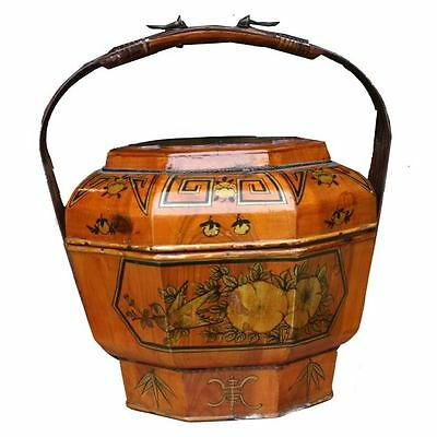 Chinese Antique  Lunch Box w/Lid and Bamboo Handle - Beautiful Colour(01-100B)
