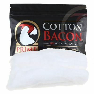 1-2 Pack Cotton Bacon V2 & PRIME By Wick 'N' Organic Wicking Material Tasteless