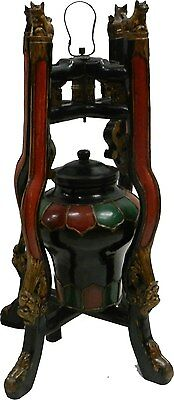 A Pair (2X) of  Chinese Antique Imperial Wood Decor Jars with Dragon Stand