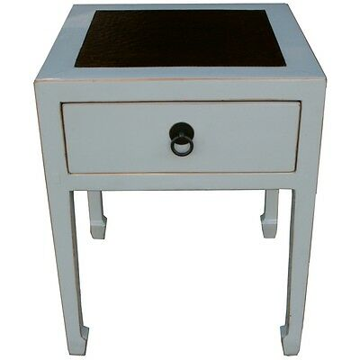 Chinese Furniture - Grey Rattan Inlay Side Table (33-072)