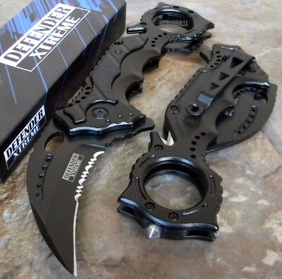TACTICAL KARAMBIT CLAW Black Spring Assisted Rescue Pocket Knife [8430]