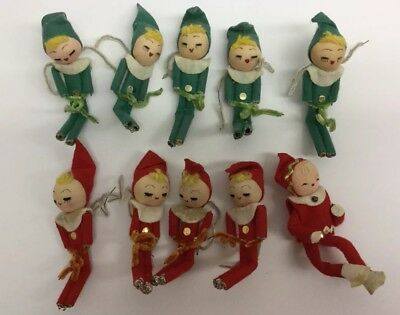 Set Of 10 Vintage Christmas Elf Pixie Ornaments Felt Cloth Wire Green and Red