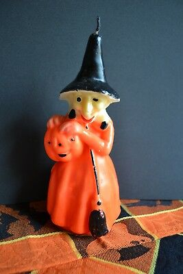 "Vintage Halloween Gurley Candle, Large 8"" Spooky Witch, Pumpkin, Broom, 3"" Base"