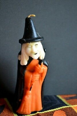 "Vintage Halloween Gurley 5-1/2"" Spooky Witch Candle, Deep Orange, Black & White"