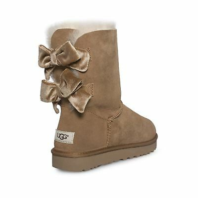 5a183230b27 UGG BAILEY BOW Ii Velvet Ribbon Chestnut Suede Sheepskin Boots Size Us 6 New