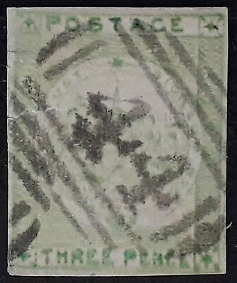Rare 1850- NSW Australia 3d Yellow Green Imperf Sydney Views stamp Used - YASS