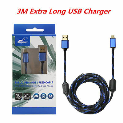 3M Extra Long USB Charging Charger + Play Cable Lead PS4 & XBOX ONE Controller