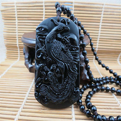 Chinese natural Beautiful obsidian carved dragon jade pendant necklace Phoenix