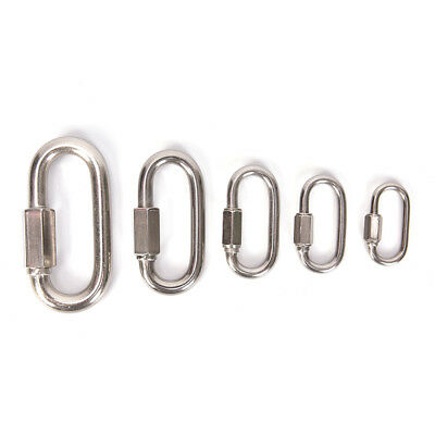 Stainless Steel Screw Lock Climbing Gear Carabiner Quick Links Safety Snap Hook&