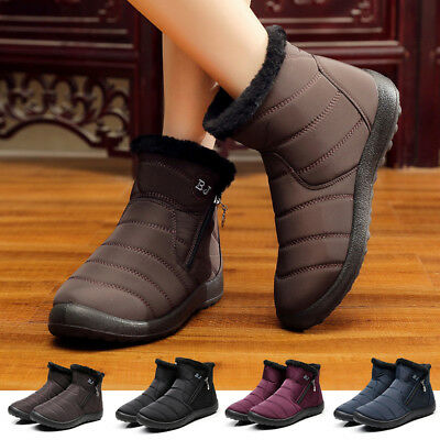 Women Snow Boots Winter Warm Thick Waterproof Ankle High Top Shoes Home Outdoor