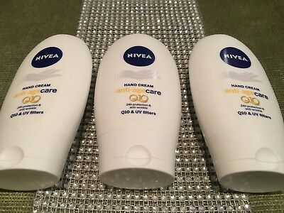 3x Nivea Anti-Age Care Q10 Anti-Wrinkle Hand Cream UV FILTERS 75ml X 3 NEW