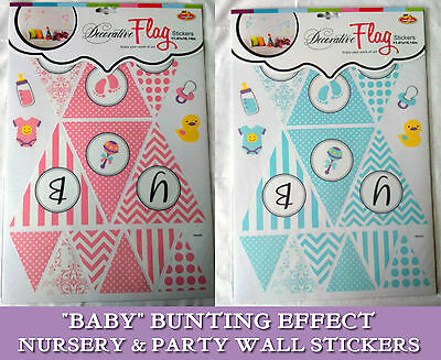 baby bunting flag wall decals stickers party nursery room decor kids