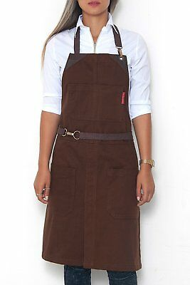 Under NY Sky No-Tie Chocolate Brown Apron - Durable Twill with Leather