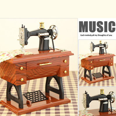 Music Box Large Antique Look Sewing Machine Mechanical Good Kids Christmas Gift