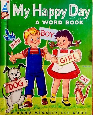 MY HAPPY DAY WORD BOOK ~Vintage Childrens Rand McNally Elf Book