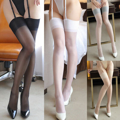 Sexy Lingerie Hot Sheer Wide Rib Top Cuff Transparent Silk Stockings Thigh High