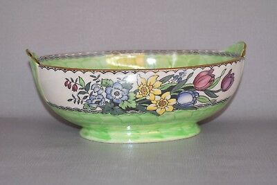 "ART DECO MALING LUSTRE WARE ""SPRINGTIME"" OVAL BOWL c1930"