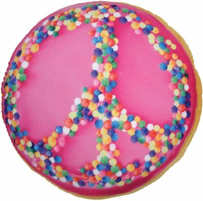 "iscream Photoreal Peace Sprinkles Bi-Color Crème Donut Shaped 16"" Microbead"