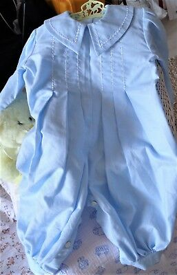Vintage Baby Boy Blue One-Piece Long Romper, Size 12 To 18 Months