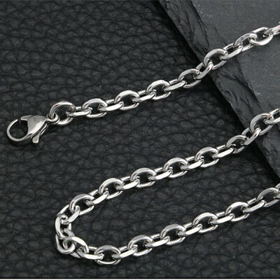 """12pcs in Lots Men Women Silver Stainless Steel Strong Oval Link Necklace 16-32"""""""