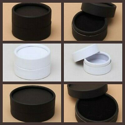Round Black White Jewellery Gift Box Ring Earrings Set Brooch Pin Small Gift New