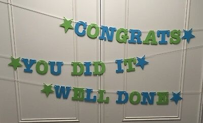 Well Done - Congrats - You Did It - Banners Congratulations Bunting Blue Green