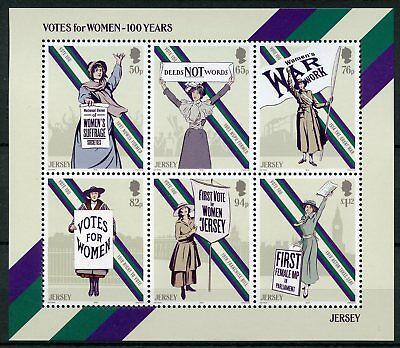 Jersey 2018 MNH Votes for Women Women's Suffrage 6v M/S Elections Voting Stamps
