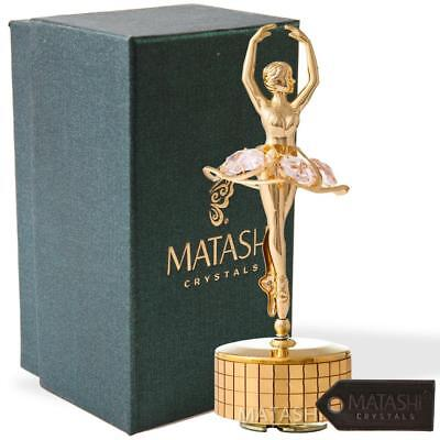 24k Gold Plated Ballet Dancer Wind-Up Music Box Memory Ornament by Matashi