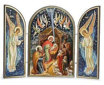 Catholic Orthodox Wood Nativity Scene Triptych Russian Icon Christ Virgin Mary