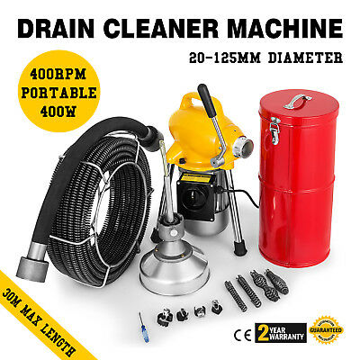 "Commercial 100FT Sewer Snake Drain Auger 3/4"" Cables Cleaner + Cutters Attach"